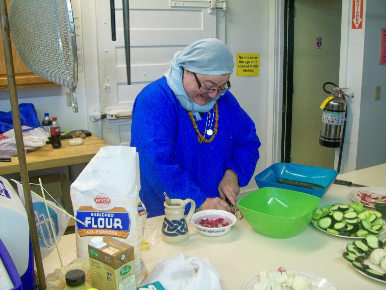 Anja in the kitchen at Martinmas 2013