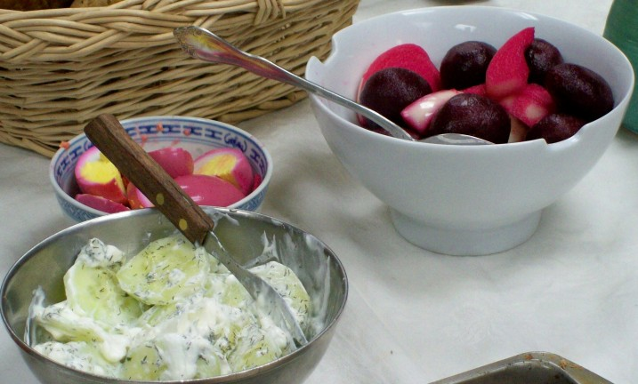 Pickled eggs, Pickled beets and onions, Cucumbers in sour cream and Dill.