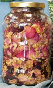 Rose sachets with petals in jar