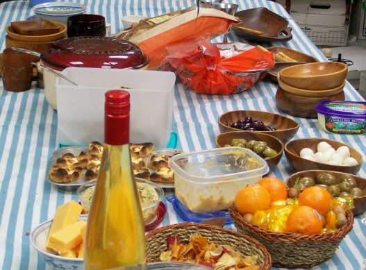 The partially set feast table