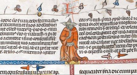 Yoda? http://www.npr.org/blogs/thetwo-way/2015/04/16/400152888/yoda-is-it-thou-figure-in-14th-century-manuscript-looks-familiar?utm_source=facebook.com&utm_medium=social&utm_campaign=npr&utm_term=nprnews&utm_content=20150416