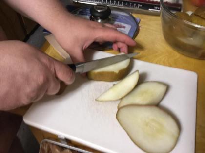 cutting pears.